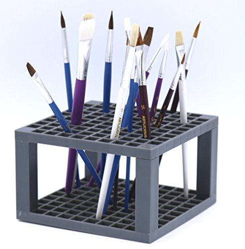 Multi Bin Art Brush Organizer 96 Hole Plastic Pencil & Brush Holder Colored Pencils Markers - Desk Stand Organizer Holder Fits Paint Brushes Dryer Holder for Pens Colored Pencils Markers (2)
