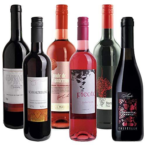 Probierpaket Wein süß rot/rosé 6 Fl. 26,80 statt 38,10 Rotwein lieblich BARRIQUE-Probierpakete 1Pck(6)