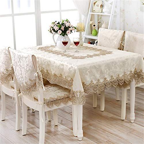 Manteles hechos a mano simples europeos de lujo bordado mantel mesa de comedor hermoso mantel redondo encaje marrón claro café TV cubierta (tamaño: 120 cm redondo)