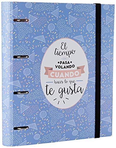 Grupo Erik Editores CAT0015 - Carpeta 4 anillas Troquelada Premium Amelie Classic con goma, Azul