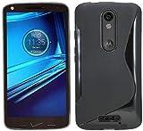 ENERGMiX S-Line TPU SchutzHülle kompatibel mit Motorola Moto X Force (XT1580) Silikon Hülle in Schwarz
