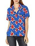 Amazon Brand - 28 Palms Women's 100% Rayon Hawaiian Aloha Blouse Shirt, Ocean Blue Pink Floral, XX-Large