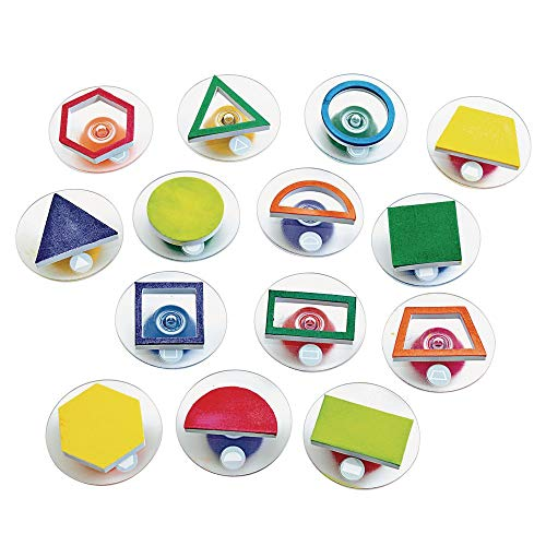 Colorations Easy Knob Grip Stamper Geometric Shapes, STEM, Solid & Outline, 14 Stamps, 2 inches x 3 inches, Storytelling, Card Making, Decorating, Educational, Learning, Math, STEM, Pack of 14 (GEOSTAM)