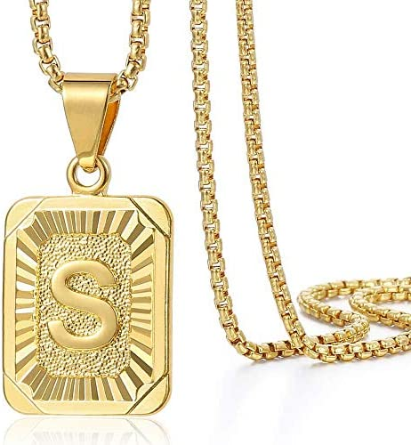 Trendsmax Initial Letter Pendant Necklace Mens Womens Capital Letter Yellow Gold Plated S Stainless product image