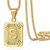 Trendsmax Initial Letter Pendant Necklace Mens Womens Capital Letter Yellow Gold Plated S Stainless Steel Box Chain 22inch