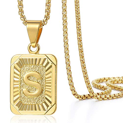 Trendsmax Initial Letter Pendant Necklace for Mens Womens Gold Plated Letter S Pendant Necklace Stainless Steel Box Link Chain 22inch