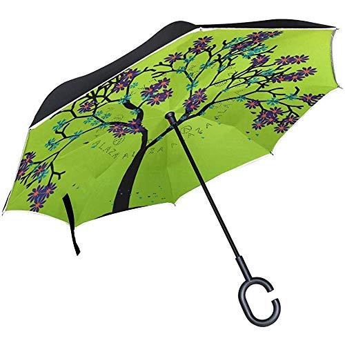 Spring Tree Umgekehrter Regenschirm Reverse Auto Open Double Layer Winddichter Uv-Schutz Umgedrehter Regenschirm Für Den Einsatz Bei Regen Im Freien