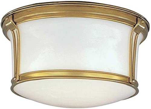 2021 Hudson lowest Valley Lighting 6510-AGB Newport popular Collection - Two Light Flush Mount, Aged Brass online sale