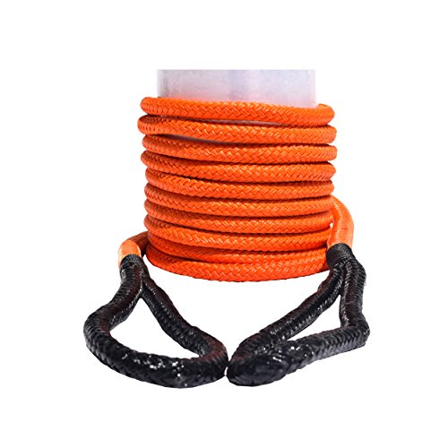 QIQU Kinetic Recovery & Tow Rope Heavy Duty Vehicle Tow Strap Rope for Truck ATV UTV SUV Snowmobile and 4x4 Off-Road Recovery 3 Size to Choose(1/2''/3/4''/1'') 3 Color (1/2''x20', Orange)