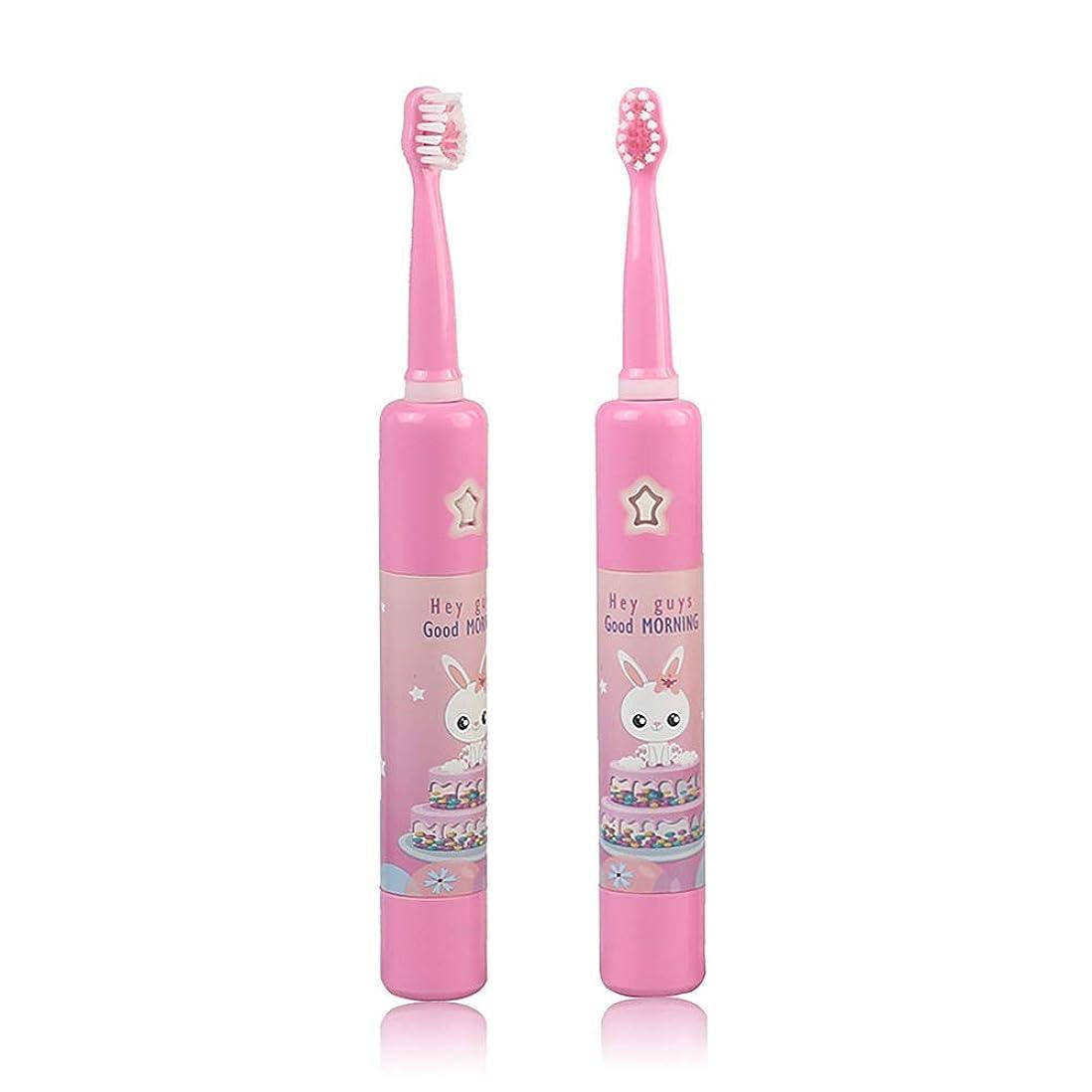 大騒ぎグループベンチ子供の音楽電動歯ブラシ、スマートタイマー幼児USB充電式ソニック防水急速充電4モードで自動,Pink