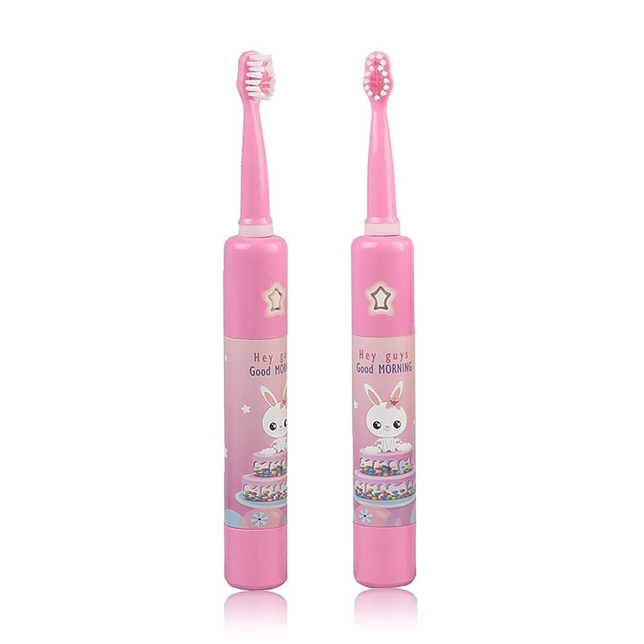 好戦的なホットトロリーバス子供の音楽電動歯ブラシ、スマートタイマー幼児USB充電式ソニック防水急速充電4モードで自動,Pink