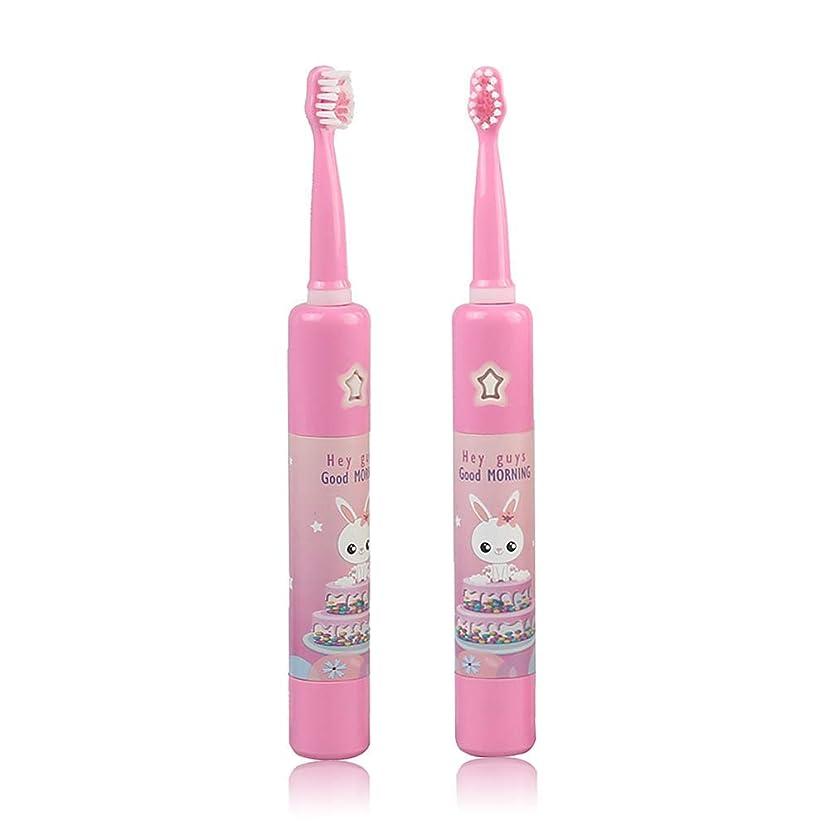 排泄物施設スクラップ子供の音楽電動歯ブラシ、スマートタイマー幼児USB充電式ソニック防水急速充電4モードで自動,Pink