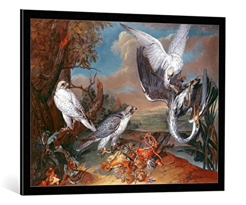 kunst für alle Bild mit Bilder-Rahmen: Ferdinand Phillip de Hamilton Greenland CYR Falcons - dekorativer Kunstdruck, hochwertig gerahmt, 95x70 cm, Schwarz/Kante grau