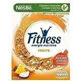 Cereales NESTLÉ Fitness Fruits - Copos de trigo integral, arroz y avena integral tostados con frutas - 1 paquete de cereales de 375g