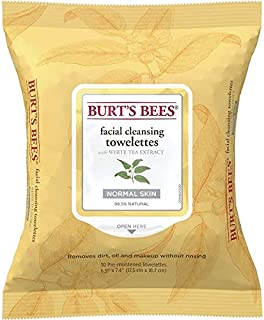 Burt's Bees Facial Cleansing Towelettes for Normal Skin with White Tea Extract, 30 Count