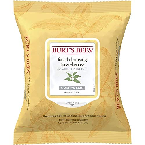 Burt's Bees Sensitive Facial Cleansing Towelettes with White Tea Extract - 30 Count (Pack of 2)