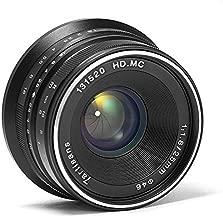 7artisans 25mm F1.8 APS-C Manual Focus Fixed Lens Compatible with Fujifilm Fuji Cameras X-A1 X-A10 X-A2 X-A3 X-at X-M1 XM2 X-T1 X-T10 X-T2 X-T20 X-Pro1 X-Pro2 X-E1 X-E2 X-E2s - Black