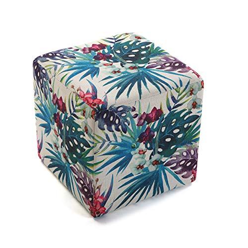 Versa 21350112 Tabouret Seau Pouf carré Fleurs 2, Polyester et Bois, Tropical-Multicolor, 35 x 35 x 35 cm