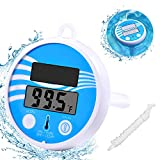 Pool Thermometer Floating Wireless - Easy Read Swimming Pool Temperature Thermometer LCD Display, Solar Digital Water Thermometer Shatter Resistant with String for Outdoor Indoor Pools Spas Hot Tubs