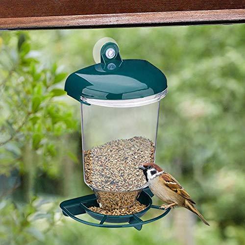 SKYROPNG Comederos para Aves,Ventosa Transparente Verde Alimentador Automático Creativo Ventosas De Plástico Extraíble Cubrir,Jardín Balcón Al Aire Libre Artículos para Mascotas Accesorios