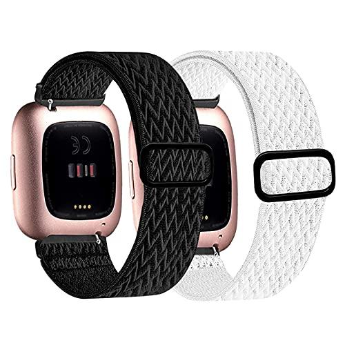 Pack de 2 pulseras compatibles con Fitbit Versa 2 / Fitbit Versa de alta calidad de nailon ajustable de repuesto para Fitbit Versa 2/Fitbit Versa/Versa Lite.,