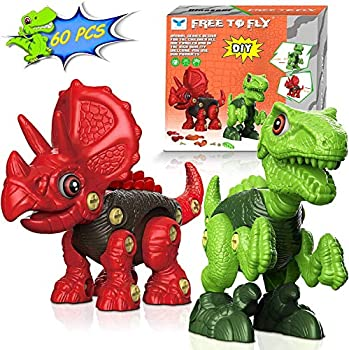 2-Pack Free To Fly Take Apart Dinosaur Toys Set with Tools