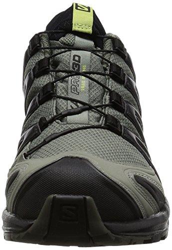 Salomon Men's XA Pro 3D ClimaShield Waterproof Trail Running Shoe, Castor Gray/Black/Fern, 11 M US