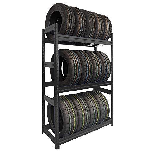 Scaffale PORTA GOMME in metallo 3 ripiani cm L120xP50xH177, Capacità 12 pneumatici, Nero ad Incastro