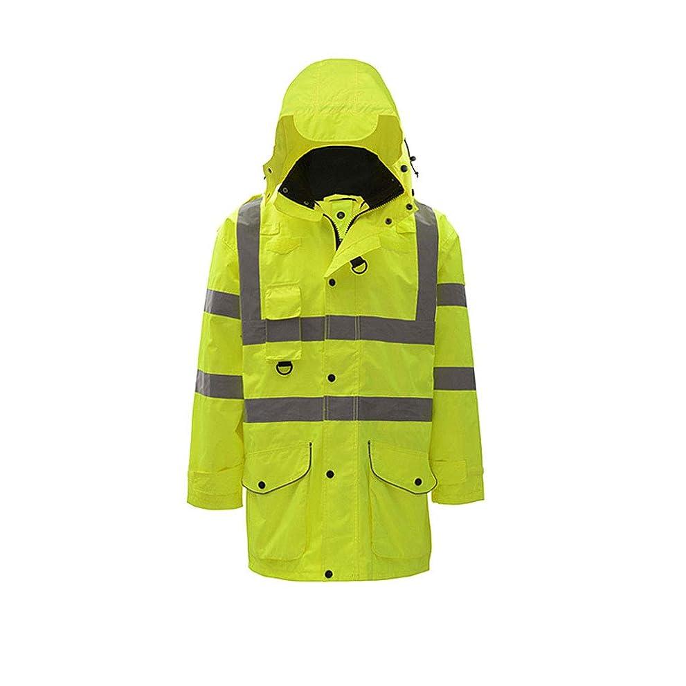 本物にもかかわらず退化する蛍光ジャケット、反射コットンコート、ハイウェイ交通安全服ライディングジャケットメンズコート (Size : S)