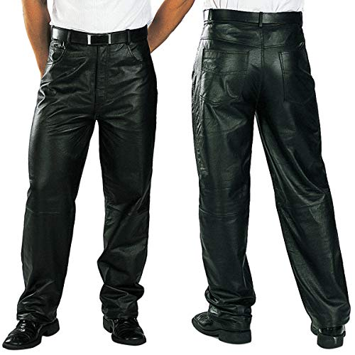 Xelement 860 Men's 'Classic' Black Loose Fit Leather Pants - 34