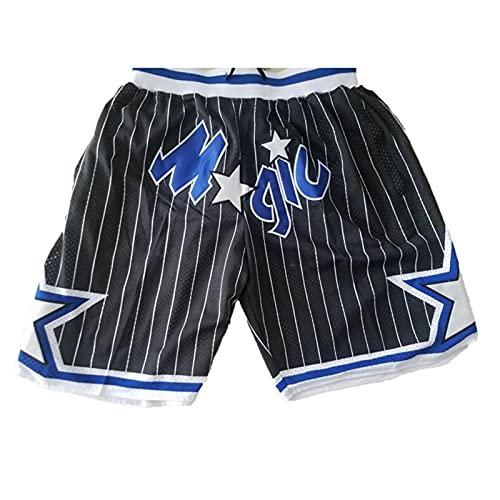 MEIBAO Magic Basketball Shorts Herren Mesh Retro Orlando Magic Swingman Sportshorts (S-XXL) Black-L