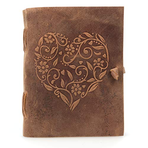 Leather Journal for Women - Beautiful Handmade Genuine Leather Bound Notebook with Embossed Heart Cover - for Daily Drawing and Sketching - Perfect 7 x 5 Inches Size for Travel or Writing on The Go