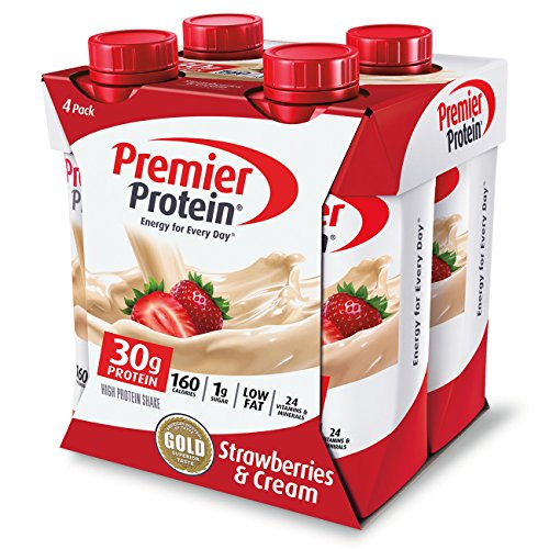 Premier Protein 30g Protein Shakes, Strawberries & Cream 11 Fluid Ounces (Pack of 4)