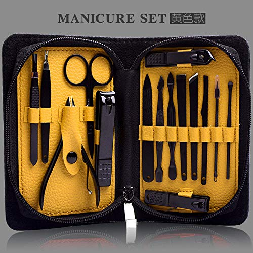 nagelknipser nagelfeile Nagelknipser Set Maniküre Multi Tool Edelstahl Nagel Maniküre-Gelb Schwarz Matt 15-teiliges Set