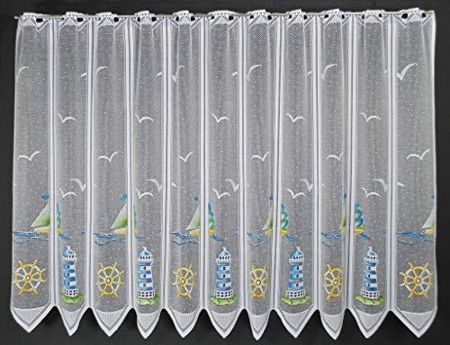 Scheibengardine Leuchtturm 90 cm hoch | Breite der Gardine durch gekaufte Menge in 28,5 cm Schritten wählbar (Anfertigung nach Maß) | Blau Grün Gelb | Vorhang Küche Wohnzimmer