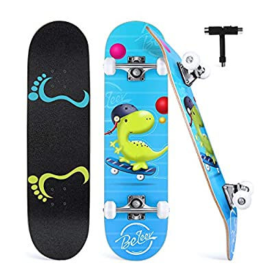 "BELEEV Skateboards for Beginners, 31"" x 8"" Complete Skateboard for Kids Teens & Adults, 7 Layer Canadian Maple Double Kick Deck Concave Cruiser Trick Skateboard for Girls & Boys (Green)"