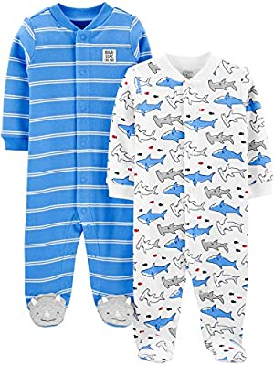 Simple Joys by Carter's Boys' 2-Pack Cotton Snap Footed Sleep and Play, Blue Shark, 0-3 Months by Carter's Simple Joys -Private Label -Vendor Flex CRI