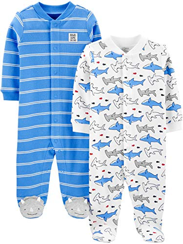 Simple Joys by Carter's 2-Pack Cotton Snap Footed Sleep and Play Infant Toddler-Sleepers, Azul (Blue Shark), 0-3 Meses, Pack de 2