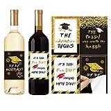 PRETYZOOM Etichette per Bottiglie di Vino Laurea Tappo di Laurea Nero E Oro Adesivi per Bo...