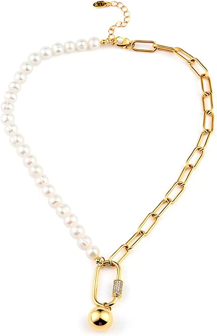 Pearl Chain Necklace Dainty Paperclip Necklace with Pendant Charms Half Chain Half Pearl Necklace Gold Stainless Steel 18 Inch