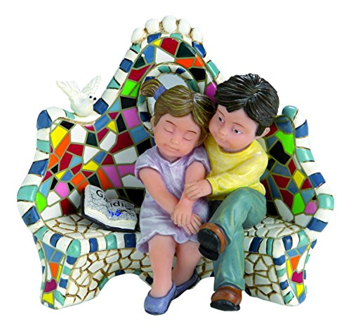 Nadal Figura Decorativa Enamorados en el Banco, Resina, Multicolor, 6.00x12.50x10.50 cm