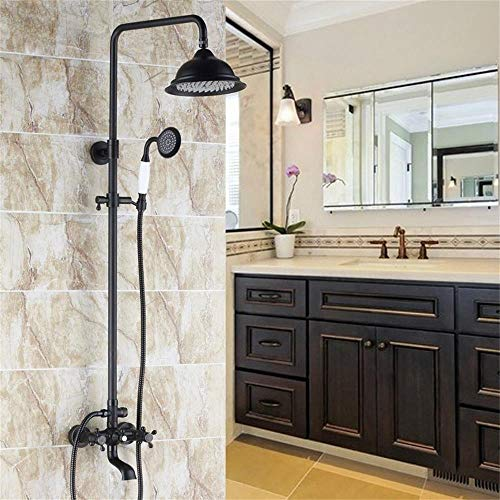 JinYuZe Classic Exposed Shower System Rainfall Shower Head with Ceramic Handheld, Antique Black Shower Kit with Tub Spout & Adjustable Slide Brass Bar