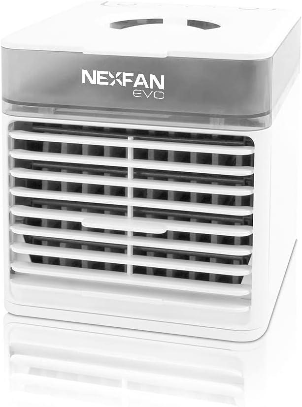 Nexfan Evo - Aparato Mini Aire Acondicionado Portátil, Refresca y Purifica el Ambiente, Función Luz UV, Silencioso, Humidificador Incluido, Conexión USB, Blanco