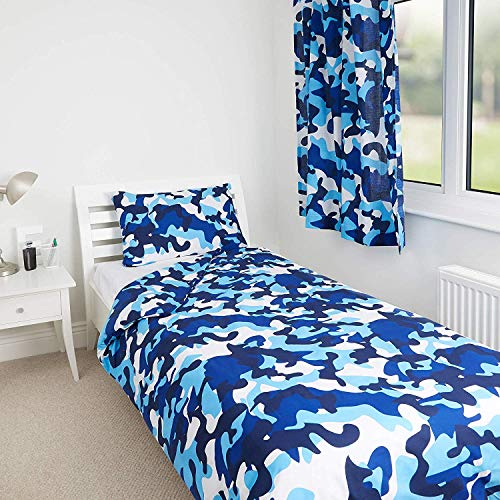 Zappi Co Blue Camo Camouflage Design Kids Boys Girls Bedroom Duvet Cover Bedding Range (Single Duvet Cover)