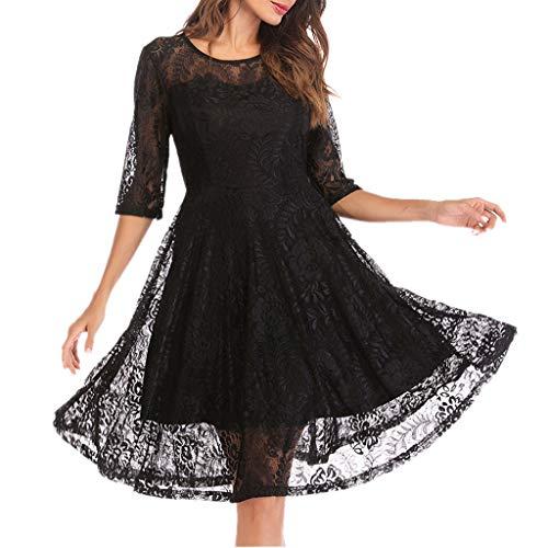 theshyer Vestido de Encaje para Mujer Vestido de Noche de Boda Retro con Dobladillo de Encaje, se Puede Usar como Vestido de Dama de Honor