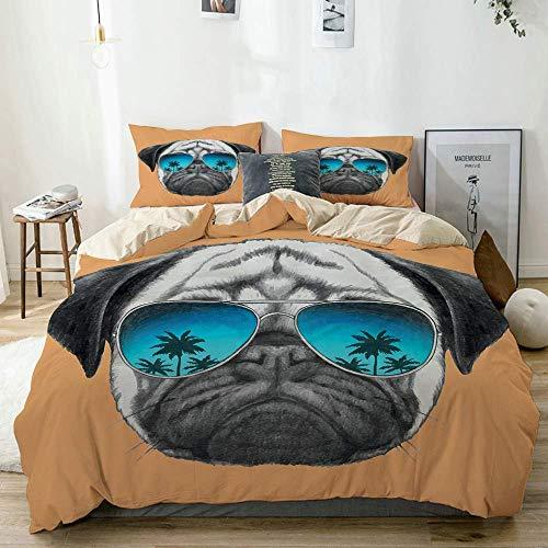 Juego de funda nórdica beige, perro con reflectantes aviadores, palmeras, ambiente tropical, animal doméstico fresco, juego de cama decorativo de 3 piezas con 2 fundas de almohada, fácil cuidado, anti