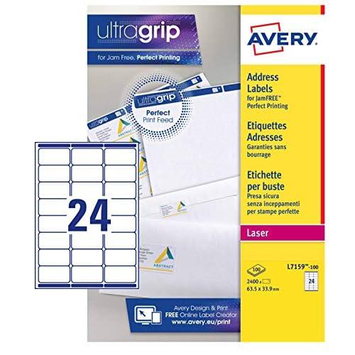 Avery L7159-100 Etichette per indirizzi 24 Etichette per Foglio, 100 Fogli, 63.5 x 33.9, Bianco