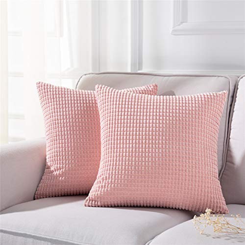 Noledar Pink Pillow Covers Decorative Soft Corduroy Square Throw Pillows for Couch Sofa Cushion Covers Set of 2, 20 x 20 Inch