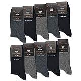 10 Paar Comfort Socken Damen und Herren ohne Gummi und ohne Naht Baumwolle Komfortb& (Grau|Anthrazit|Schwarz 39-42)