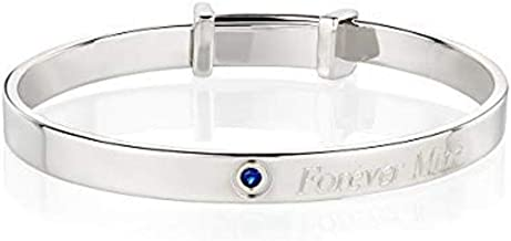 Molly B London Sterling Silver Personalized September Sapphire Birthstone Baptism Baby's Bangle Arrives with Luxury Jewelry Gift Box